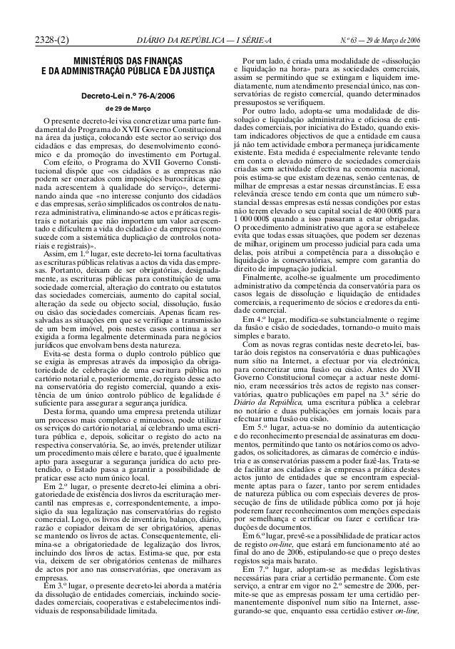 2328-(2) DIÁRIO DA REPÚBLICA — I SÉRIE-A N.o 63 — 29 de Março de 2006 MINISTÉRIOS DAS FINANÇAS E DA ADMINISTRAÇÃO PÚBLICA ...