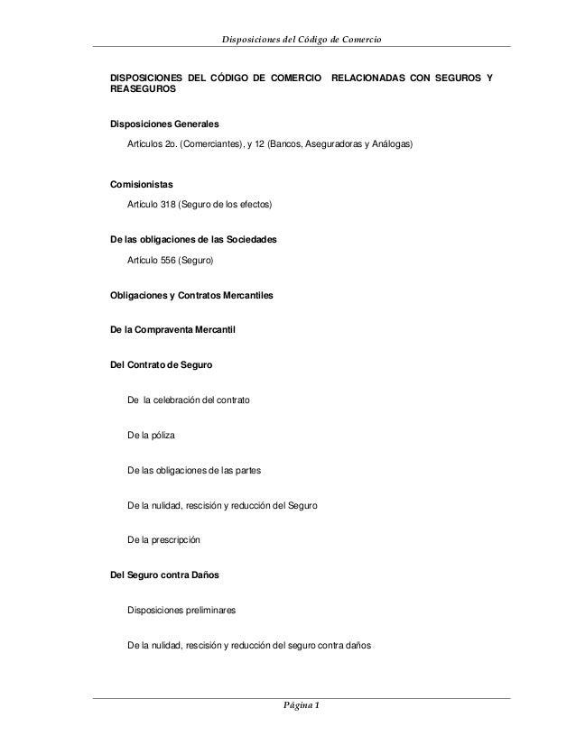 Disposiciones del Código de ComercioDISPOSICIONES DEL CÓDIGO DE COMERCIO                 RELACIONADAS CON SEGUROS YREASEGU...