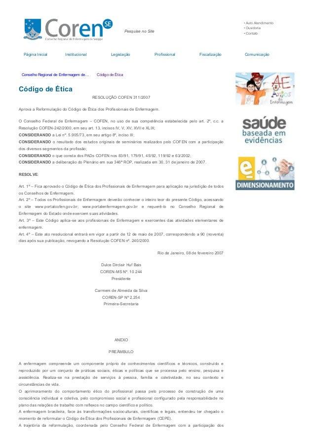 11/07/2015 CódigodeÉtica–ConselhoRegionaldeEnfermagemdeSergipe http://se.corens.portalcofen.gov.br/codigodeetic...