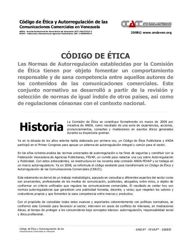 Código de Ética y Autorregulación de las  Comunicaciones Comerciales en Venezuela  ANDA - Asociación Nacional de Anunciant...