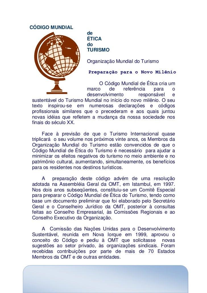 CÓDIGO MUNDIAL                        de                        ÉTICA                        do                        TUR...