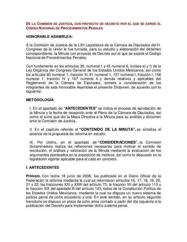 DE LA COMISIÓN DE JUSTICIA, CON PROYECTO DE CÓDIGO NACIONAL DE PROCEDIMIENTOS PENALES  DECRETO POR EL QUE SE EXPIDE EL  HO...