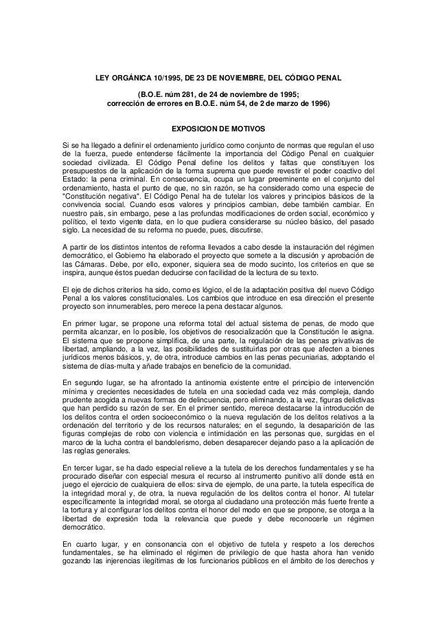 LEY ORGÁNICA 10/1995, DE 23 DE NOVIEMBRE, DEL CÓDIGO PENAL                      (B.O.E. núm 281, de 24 de noviembre de 199...