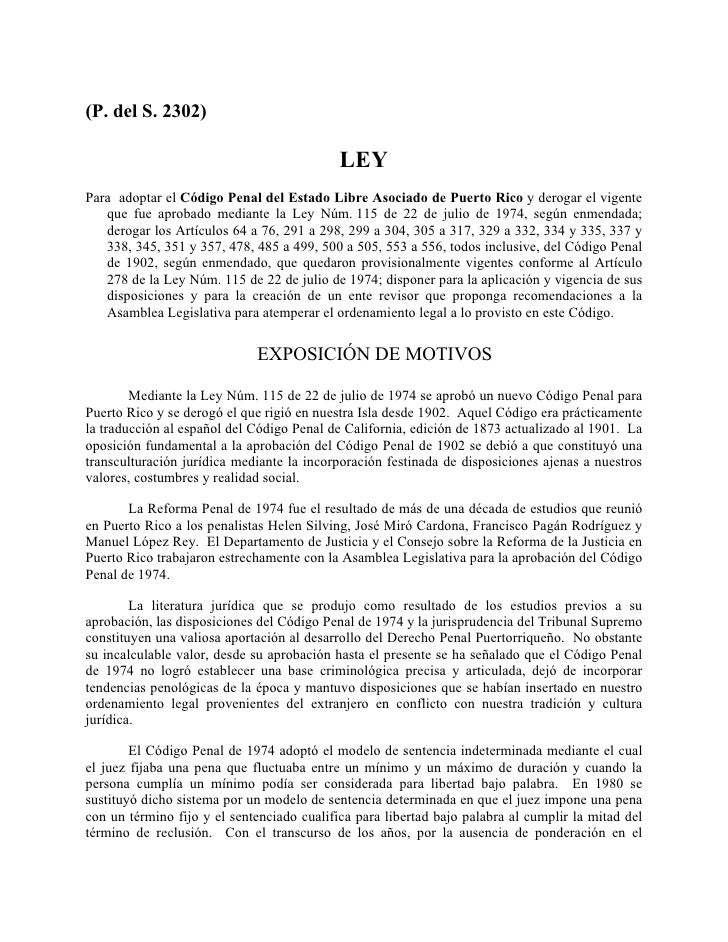 (P. del S. 2302)                                              LEY Para adoptar el Código Penal del Estado Libre Asociado d...