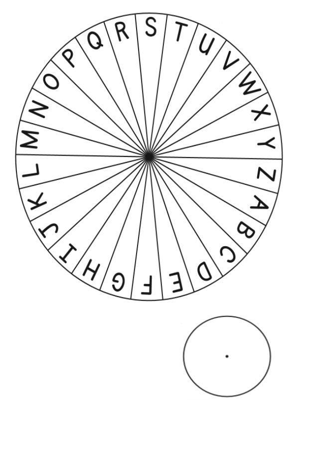 Missatge Secret De: Per: Per desxifrar aquest missatge cal col·locar: - La roda de fora a la: ............ - La roda de di...