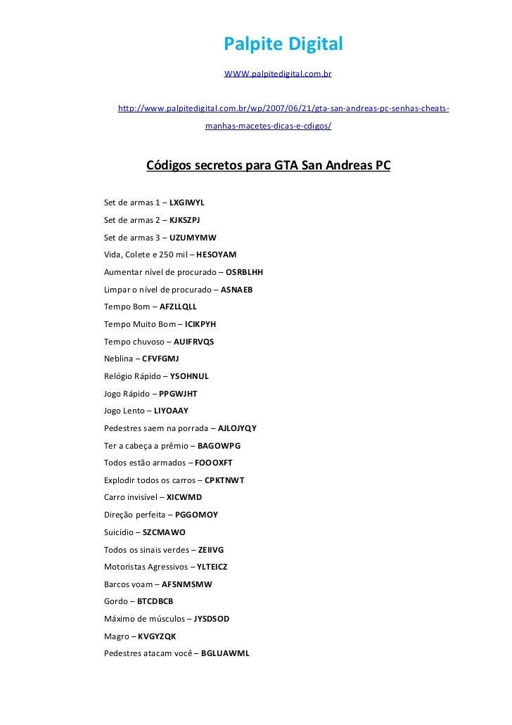 codigo de munição infinita gta san andreas pc