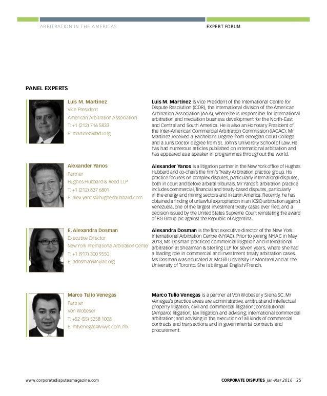 CORPORATE DISPUTES Jan-Mar 201628 www.corporatedisputesmagazine.com EXPERT FORUMARBITRATION IN THE AMERICAS Yanos: Over th...