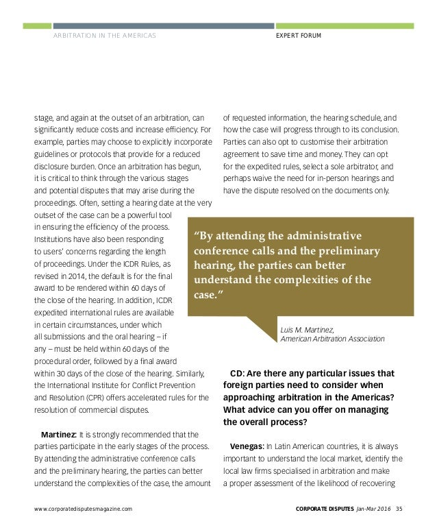 CORPORATE DISPUTES Jan-Mar 201638 www.corporatedisputesmagazine.com PERSPECTIVES PERSPECTIVES ARBITRATION AND EXPEDITED CO...