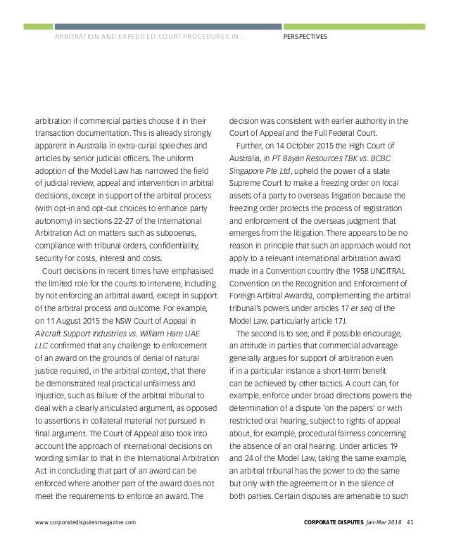 XXX CORPORATE DISPUTES Jan-Mar 201644 www.corporatedisputesmagazine.com PERSPECTIVES Aware that the Rules would harmonise ...