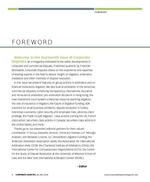 www.corporatedisputesmagazine.com CORPORATE DISPUTES Jan-Mar 2016 7 FOREWORD