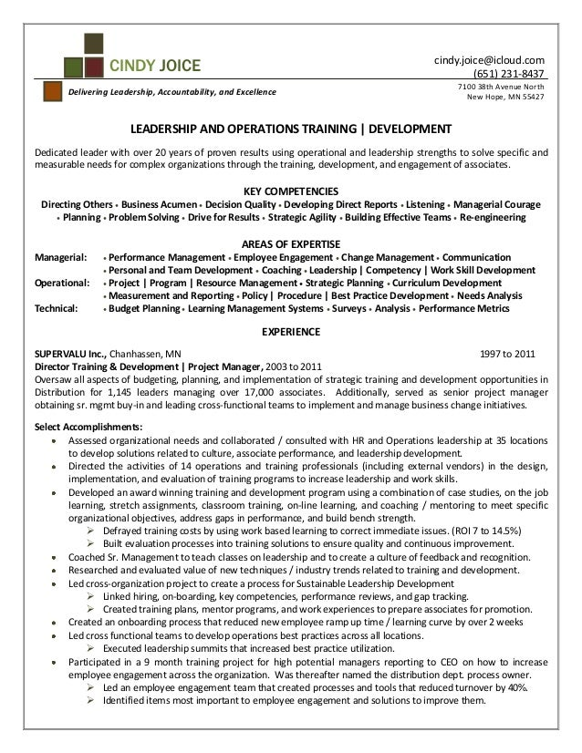 cindy joice resume for director of training and development - Training Resume