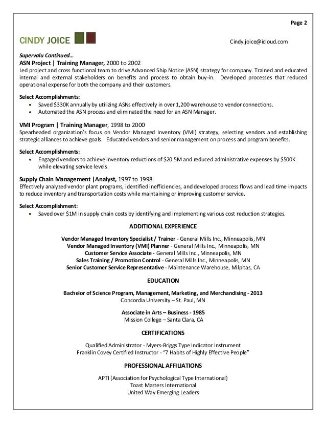 2 - Training And Development Resume Sample