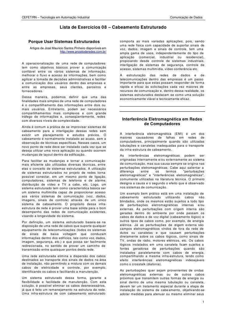 CEFET/RN – Tecnologia em Automação Industrial                                                 Comunicação de Dados        ...