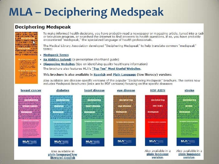 "MLA's ""Top Ten""…• NOAH: New York Online Access to Health (http://www.noah-  health.org/• MedlinePlus (http://medlineplus.g..."