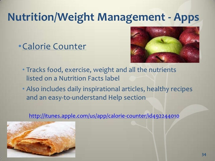 Nutrition/Weight Management - Apps  •Calorie Counter & Diet Tracker by   MyFitness Pal  • This app may be created by MyFit...