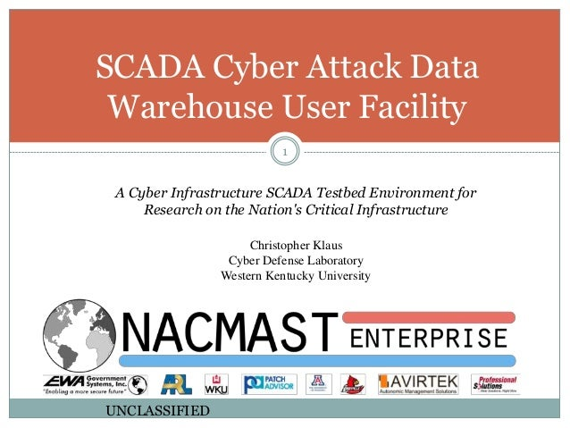 A Cyber Infrastructure SCADA Testbed Environment for Research on the Nation's Critical Infrastructure Christopher Klaus Cy...