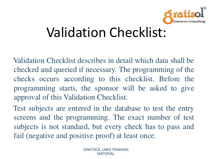 gratisol labs training material 20 - Clinical Database Programmer