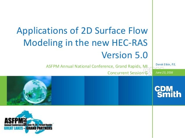 June 23, 2016 Applications of 2D Surface Flow Modeling in the new HEC-RAS Version 5.0 ASFPM Annual National Conference, Gr...