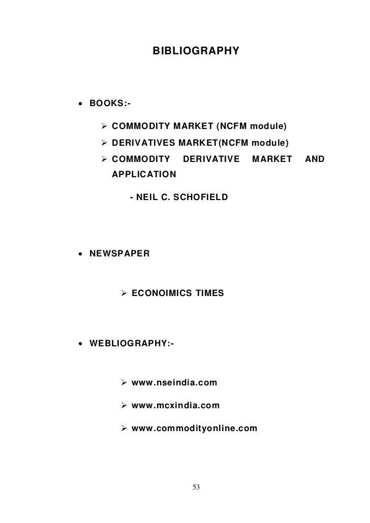 A study on commodity derivative market