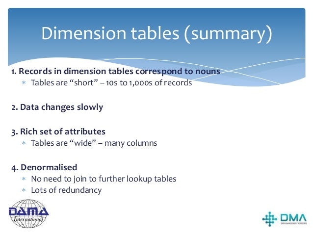 Fact tables  Facts are used to store numerical measurements captured in a 'measurement event' caused by a business proces...
