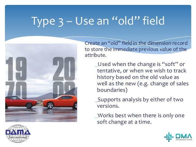 Slowly Changing Dimensions Summary Three most common techniques: 1.Type 1 – Overwrite 2.Type 2 – Keep all old versions in ...