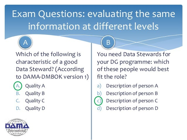 Exam Questions: evaluating the same information at different levels Which of the following is characteristic of a good Dat...