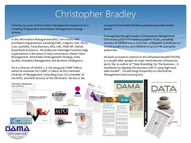 Christopher Bradley Chris has 35 years of Information Management experience & is a leading Independent Information Managem...
