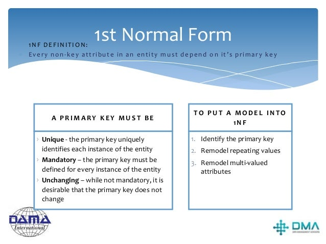 2nd Normal Form Take each non- key attribute (i.e. not a primary, foreign or alternate key). Test if it depends entirely o...