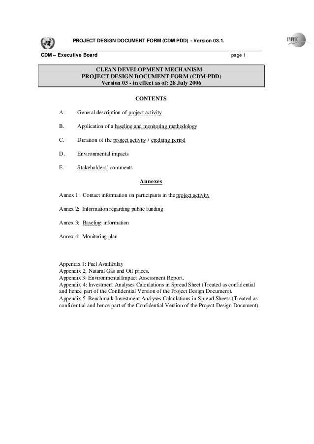 PROJECT DESIGN DOCUMENT FORM (CDM PDD) - Version 03.1. CDM – Executive Board page 1 CLEAN DEVELOPMENT MECHANISM PROJECT DE...