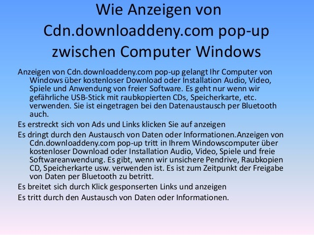 Wie Anzeigen von Cdn.downloaddeny.com pop-up zwischen Computer Windows Anzeigen von Cdn.downloaddeny.com pop-up gelangt Ih...