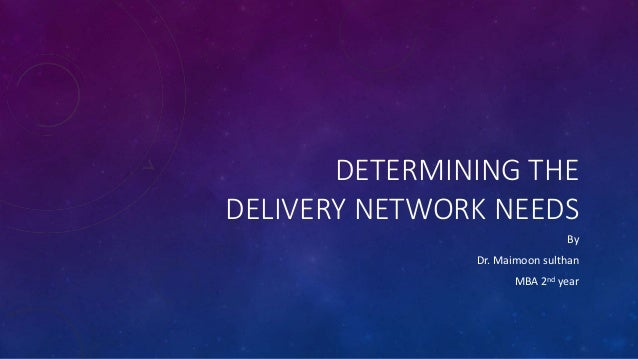 DETERMINING THE DELIVERY NETWORK NEEDS By Dr. Maimoon sulthan MBA 2nd year