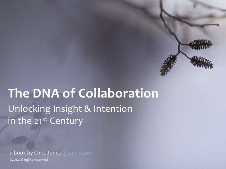 The DNA of CollaborationUnlocking Insight & Intentionin the 21st Centurya book by Chris Jones @sourcepov©2012 all rights r...
