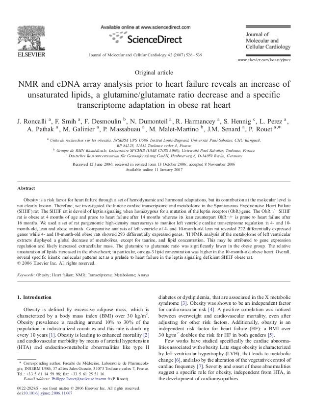 Journal of Molecular and Cellular Cardiology 42 (2007) 526 – 539 www.elsevier.com/locate/yjmcc  Original article  NMR and ...