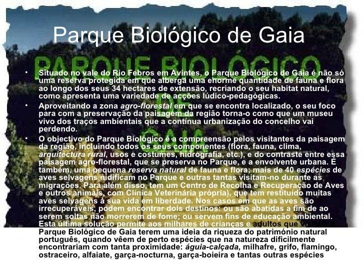 Parque Biológico de Gaia   <ul><li>Situado no vale do Rio Febros em Avintes, o Parque Biológico de Gaia é não só uma reser...