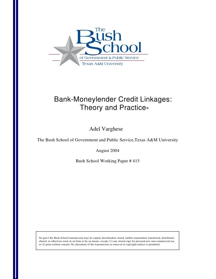 Bank-Moneylender Credit Linkages:                    Theory and Practice∗                                              Ade...
