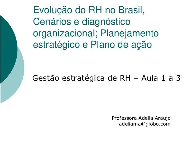 Evolução do RH no Brasil, Cenários e diagnóstico organizacional; Planejamento estratégico e Plano de ação   Gestão estraté...