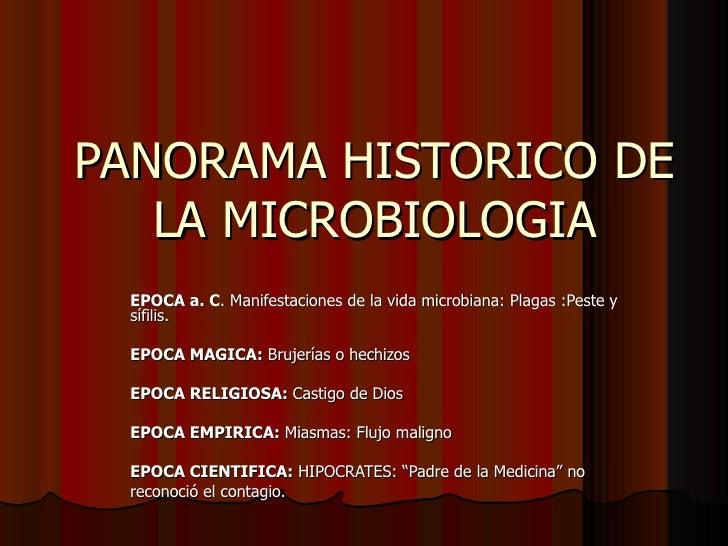 PANORAMA HISTORICO DE LA MICROBIOLOGIA EPOCA a. C . Manifestaciones de la vida microbiana: Plagas :Peste y sífilis. EPOCA ...