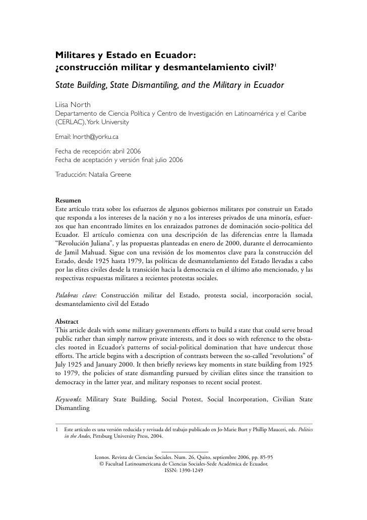 Militares y Estado en Ecuador: ¿construcción militar y desmantelamiento civil?1 State Building, State Dismantiling, and th...