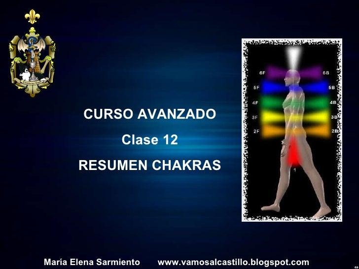 María Elena Sarmiento  www.vamosalcastillo.blogspot.com CURSO AVANZADO Clase 12 RESUMEN CHAKRAS