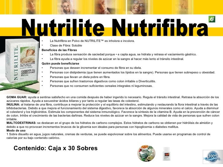 Contenido: Caja x 30 Sobres Nutrilite Nutrifibra <ul><li>La Nutrifibra en Polvo de NUTRILITE™ es inholora e incolora. </li...