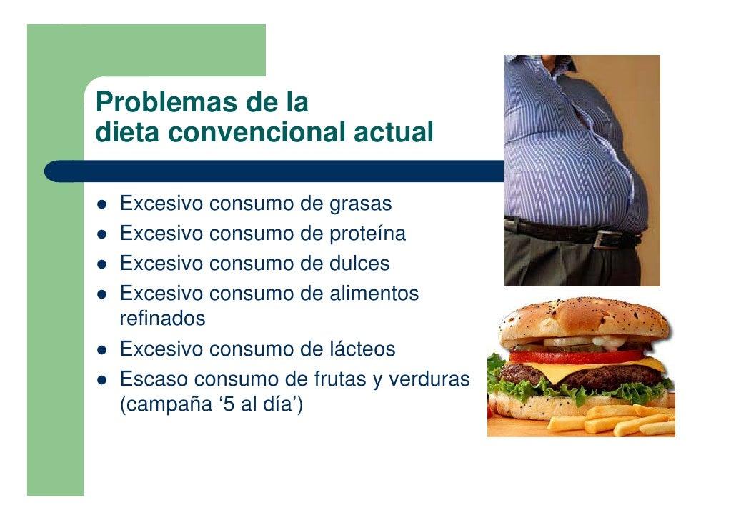 Problemas de la dieta convencional actual  !   Excesivo consumo de grasas !   Excesivo consumo de proteína !   Excesivo co...