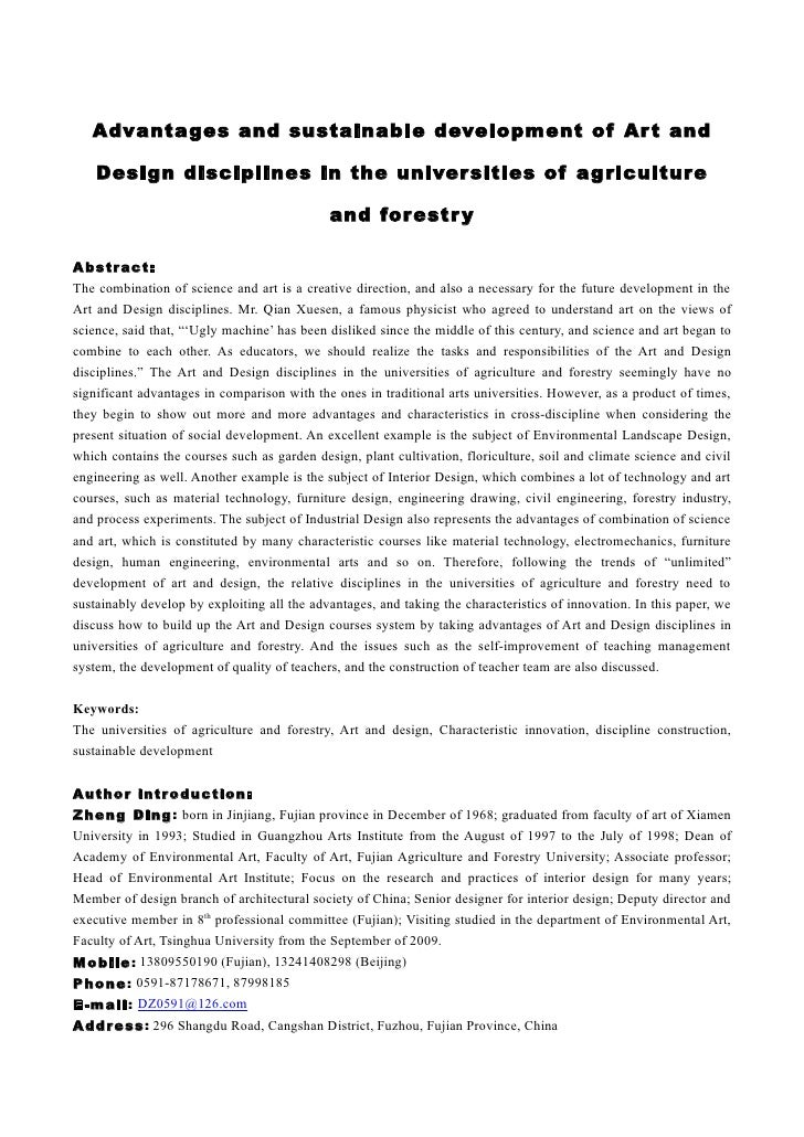 Advantages and sustainable development of Ar t and      Design disciplines in the univer sities of ag riculture           ...