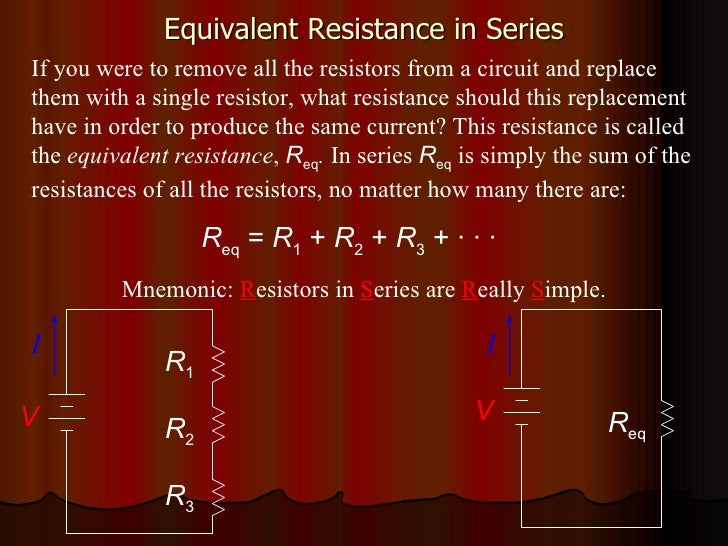 Equivalent Resistance in Series I V R 1 R 2 R 3 I V R eq If you were to remove all the resistors from a circuit and replac...