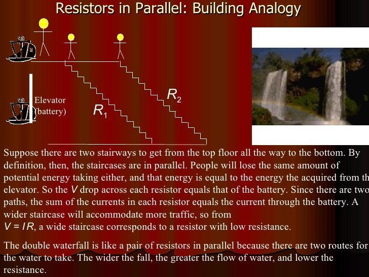 Resistors in Parallel: Building Analogy Suppose there are two stairways to get from the top floor all the way to the botto...