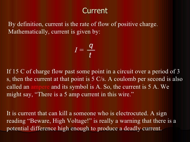Current By definition, current is the rate of flow of positive charge. Mathematically, current is given by: If 15 C of cha...