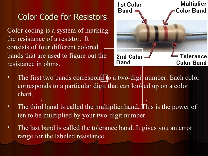 Color Code for Resistors Color coding is a system of marking the resistance of a resistor.  It consists of four different ...