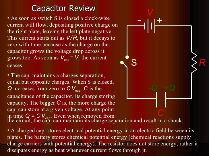 Capacitor Review C V +Q -Q R S <ul><li>As soon as switch S is closed a clock-wise current will flow, depositing positive c...