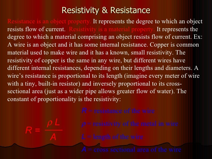 Resistivity & Resistance R  = resistance of the wire    = resistivity of the metal in wire L  = length of the wire A  = c...