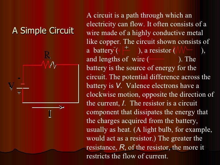 A Simple Circuit A circuit is a path through which an electricity can flow. It often consists of a wire made of a highly c...