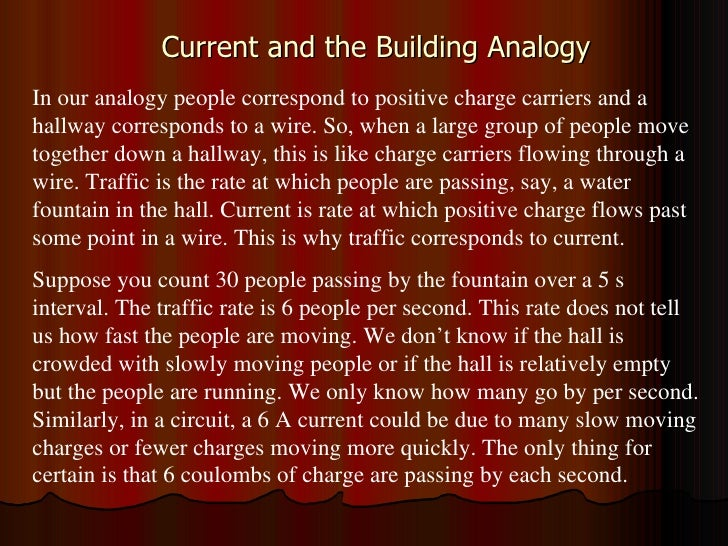 Current and the Building Analogy In our analogy people correspond to positive charge carriers and a hallway corresponds to...